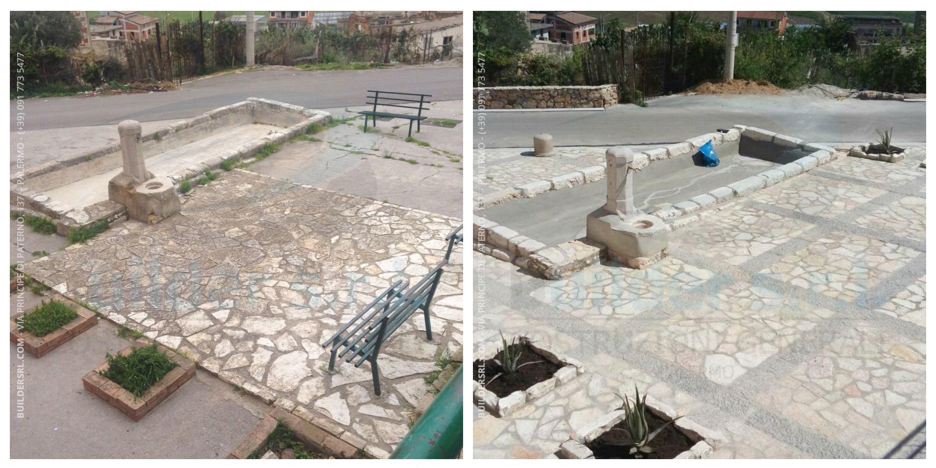 Prima e dopo i lavori di ristrutturazione in cda Stazzone a San Cipirello -