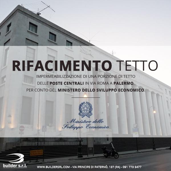 Rifacimento di una porzione di tetto a Palermo - presso le Poste Centrali in via Roma